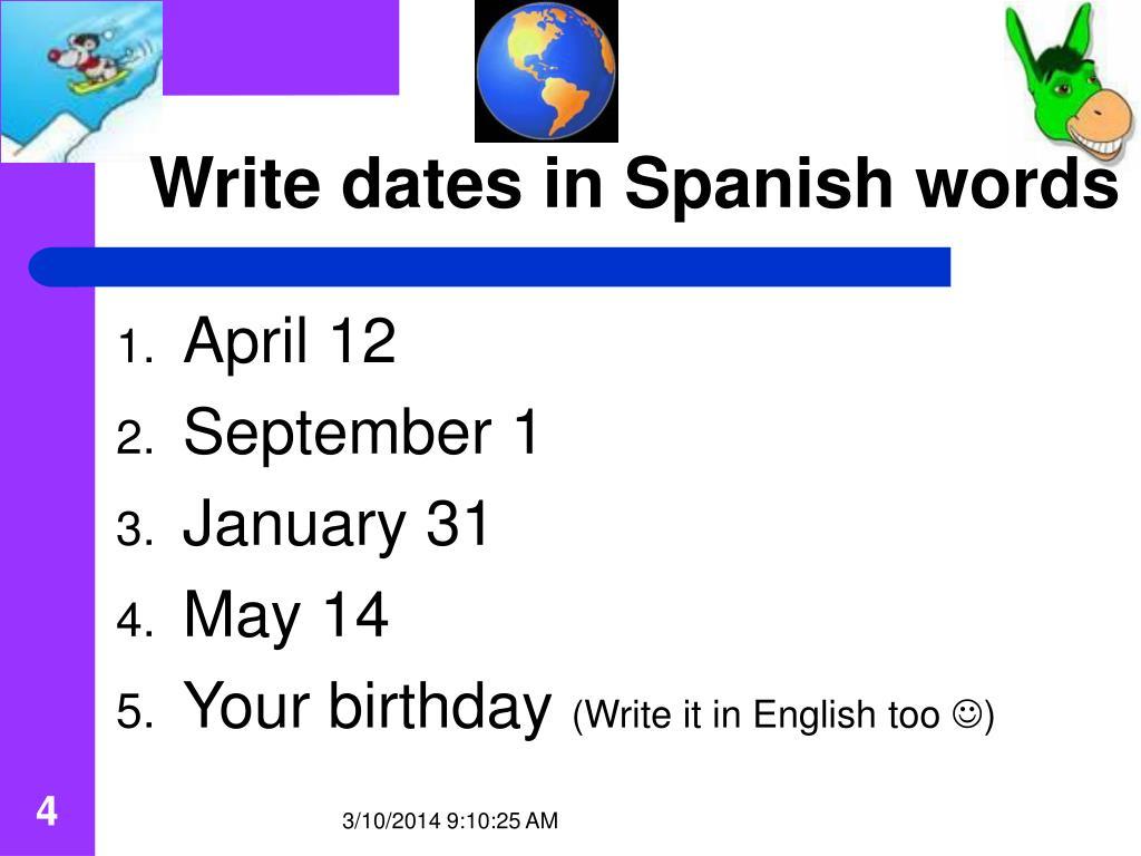Write dates in Spanish words