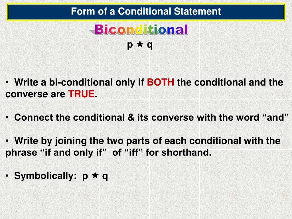 Form of a Conditional Statement