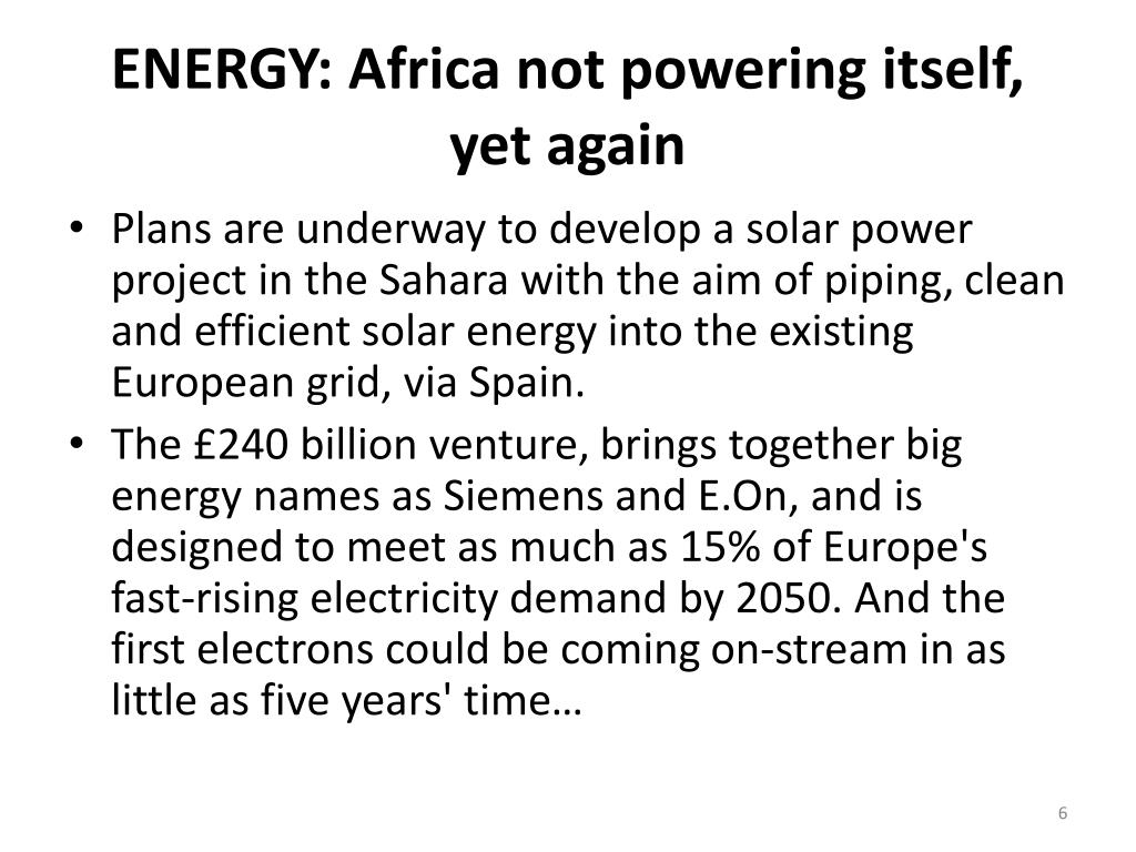 ENERGY: Africa not powering itself, yet again