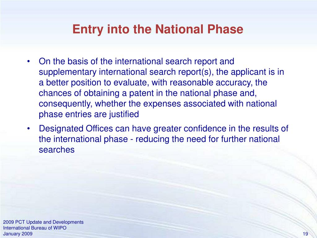 Entry into the National Phase