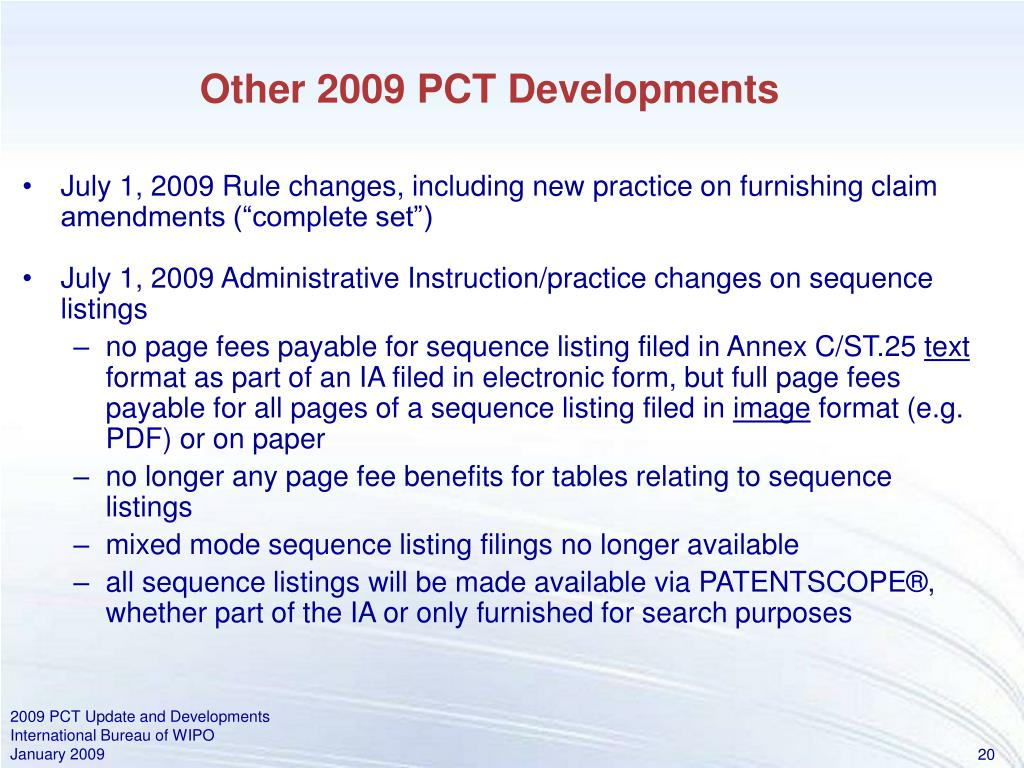 Other 2009 PCT Developments