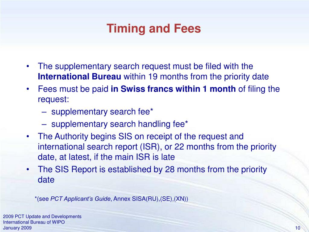 Timing and Fees