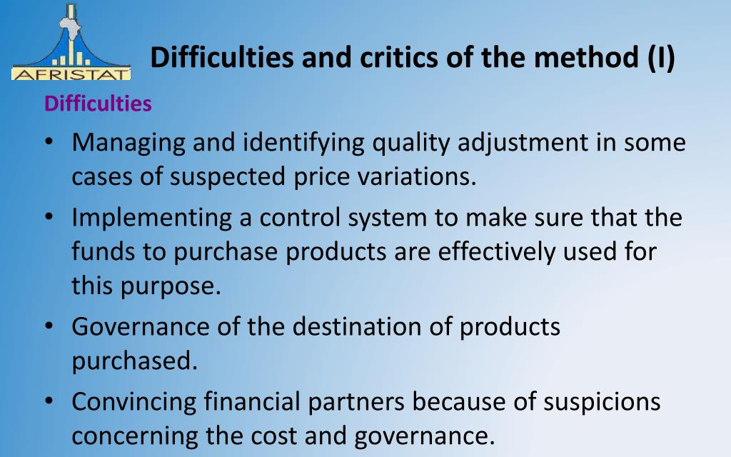 Difficulties and critics of the method (I)