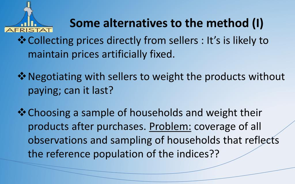 Some alternatives to the method (I)