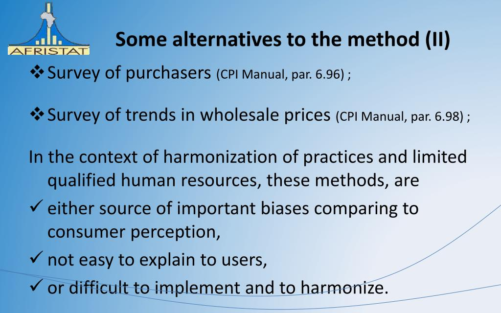 Some alternatives to the method (II)