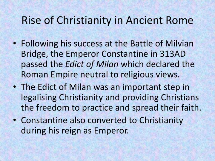 """rise of christianity in rome essay """"the rise of imperial rome essay example  humanities ,,judaism the rise of christianity,roman imperial civilization and the triumph of christianity."""