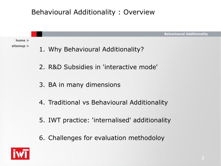 Behavioural additionality overview