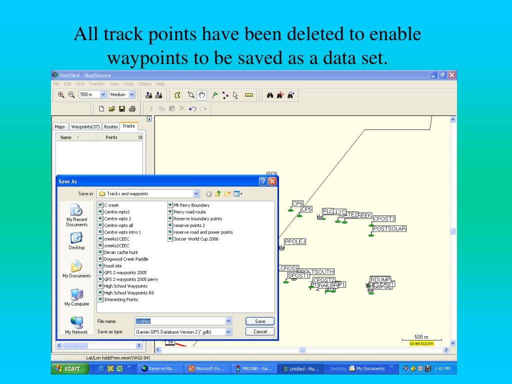 All track points have been deleted to enable waypoints to be saved as a data set.
