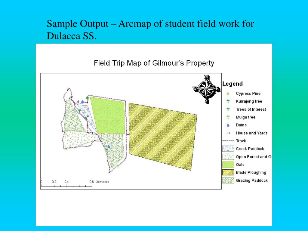 Sample Output – Arcmap of student field work for Dulacca SS.