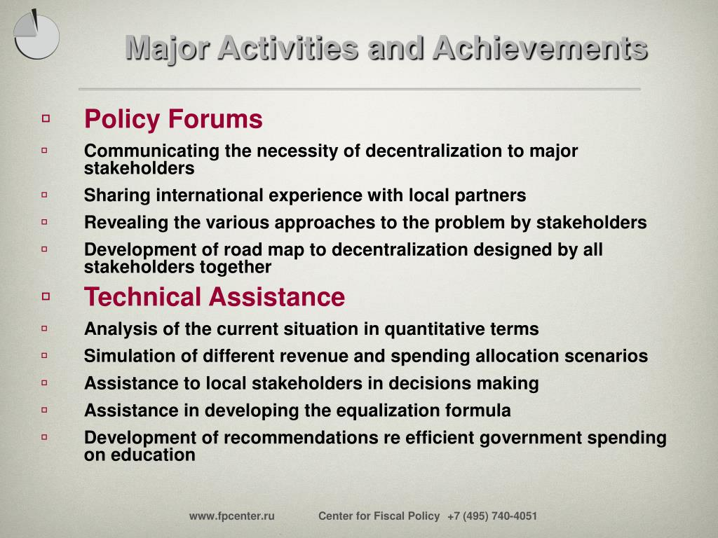 Major Activities and Achievements