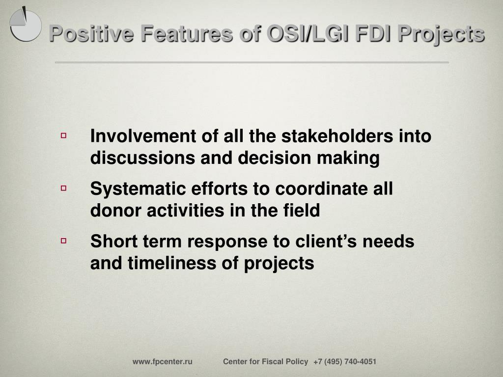 Positive Features of OSI/LGI FDI Projects