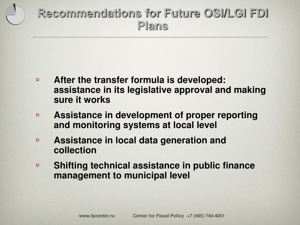 Recommendations for Future OSI/LGI FDI