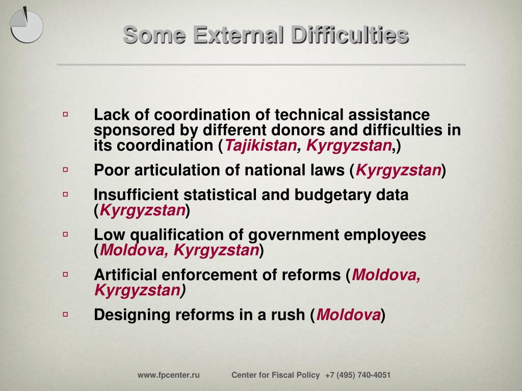 Some External Difficulties