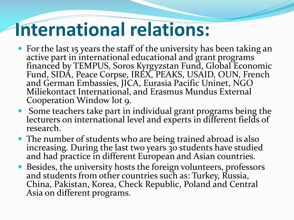International relations: