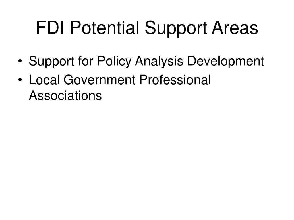 FDI Potential Support Areas