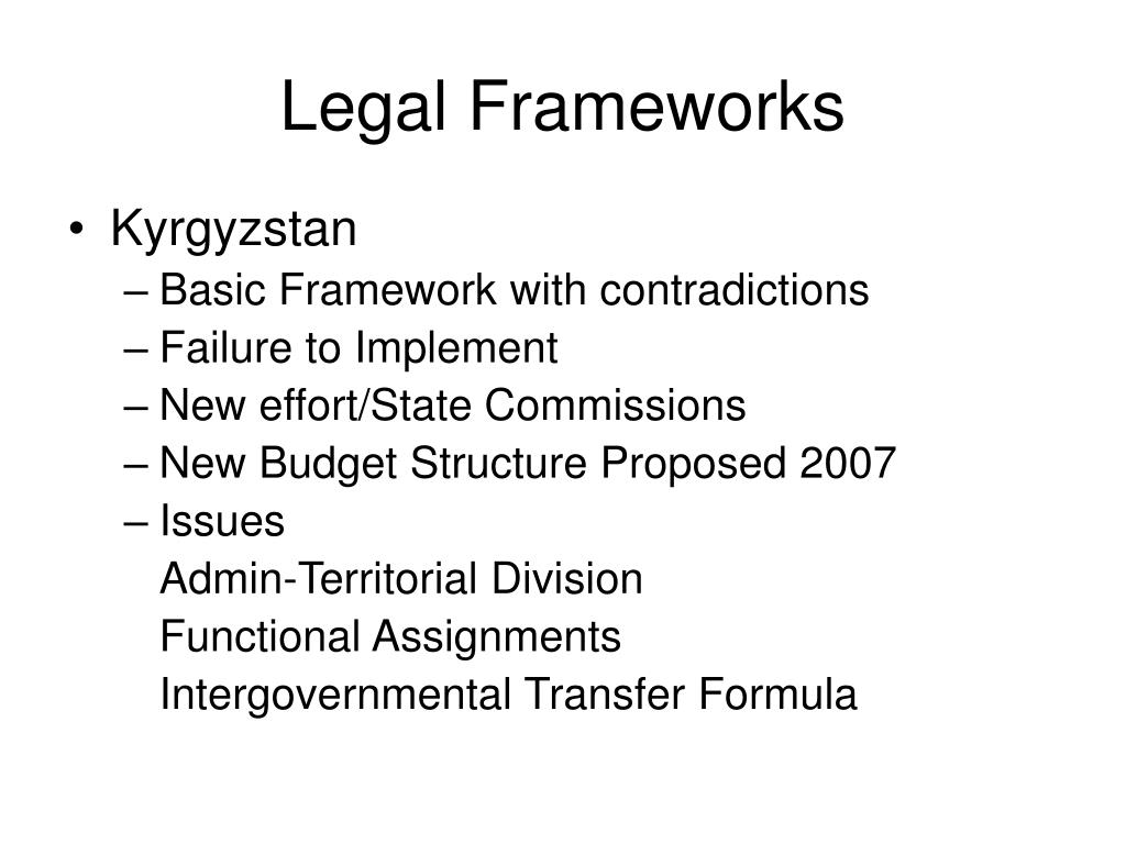 Legal Frameworks