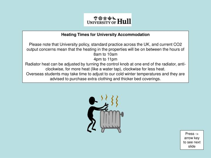 Heating Times for University Accommodation