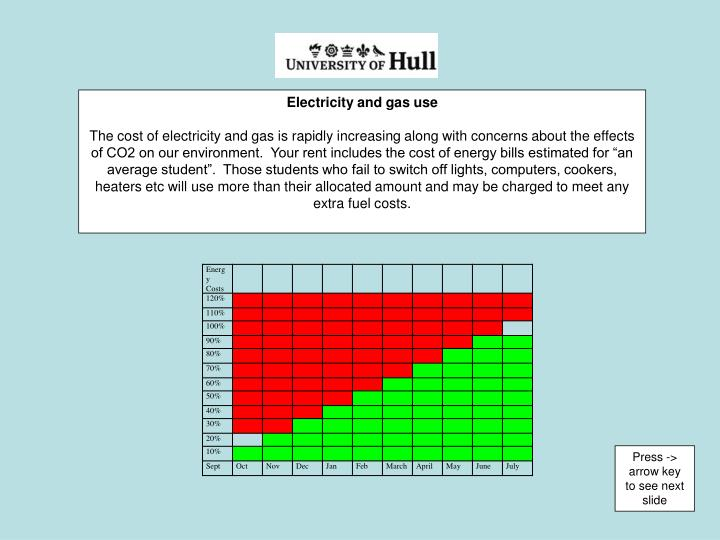 Electricity and gas use