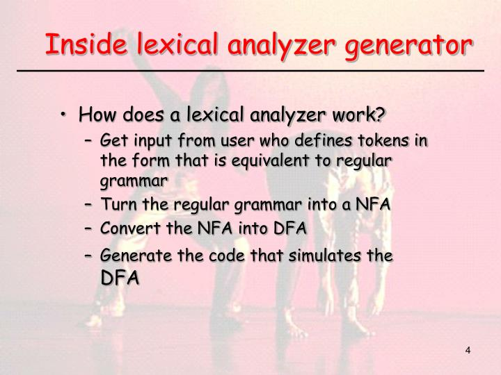 Inside lexical analyzer generator
