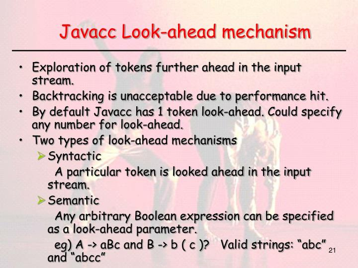 Javacc Look-ahead mechanism