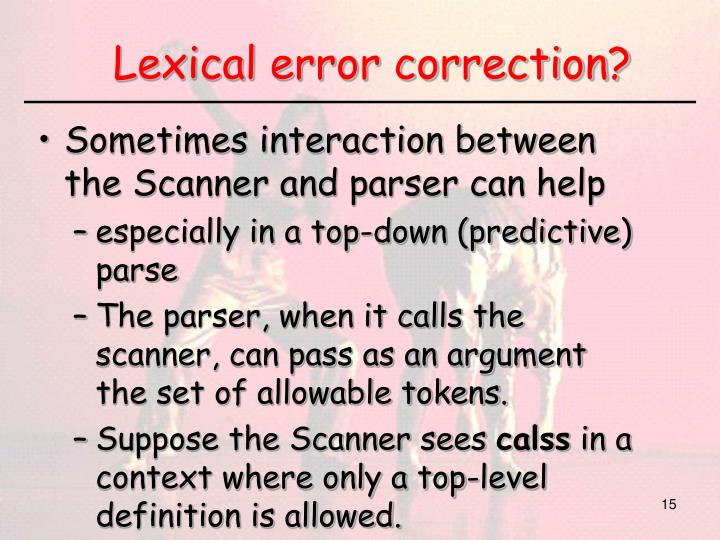Lexical error correction?
