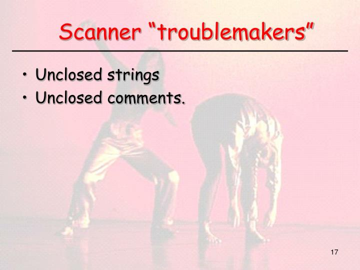 "Scanner ""troublemakers"""