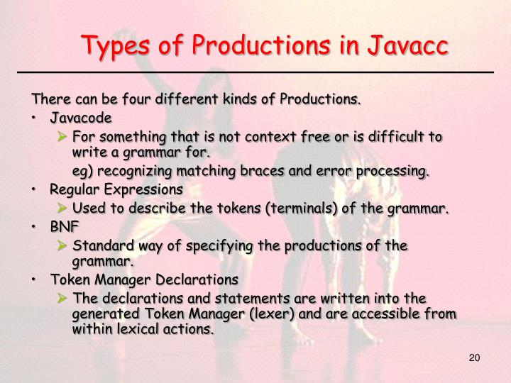Types of Productions in Javacc