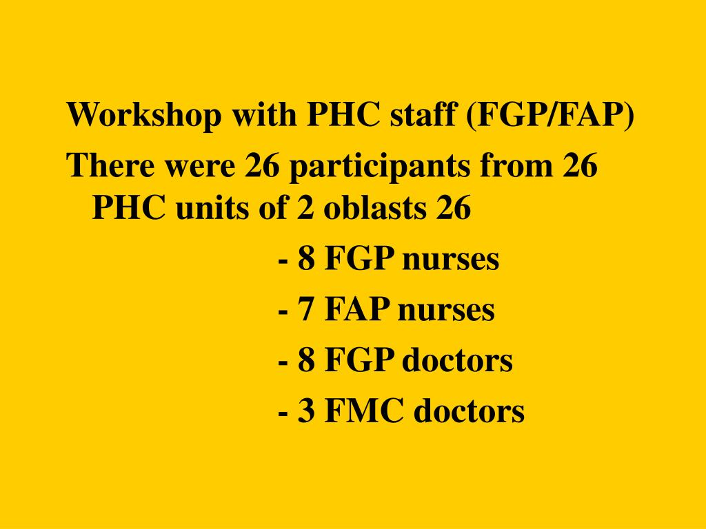 Workshop with PHC staff (FGP/FAP)
