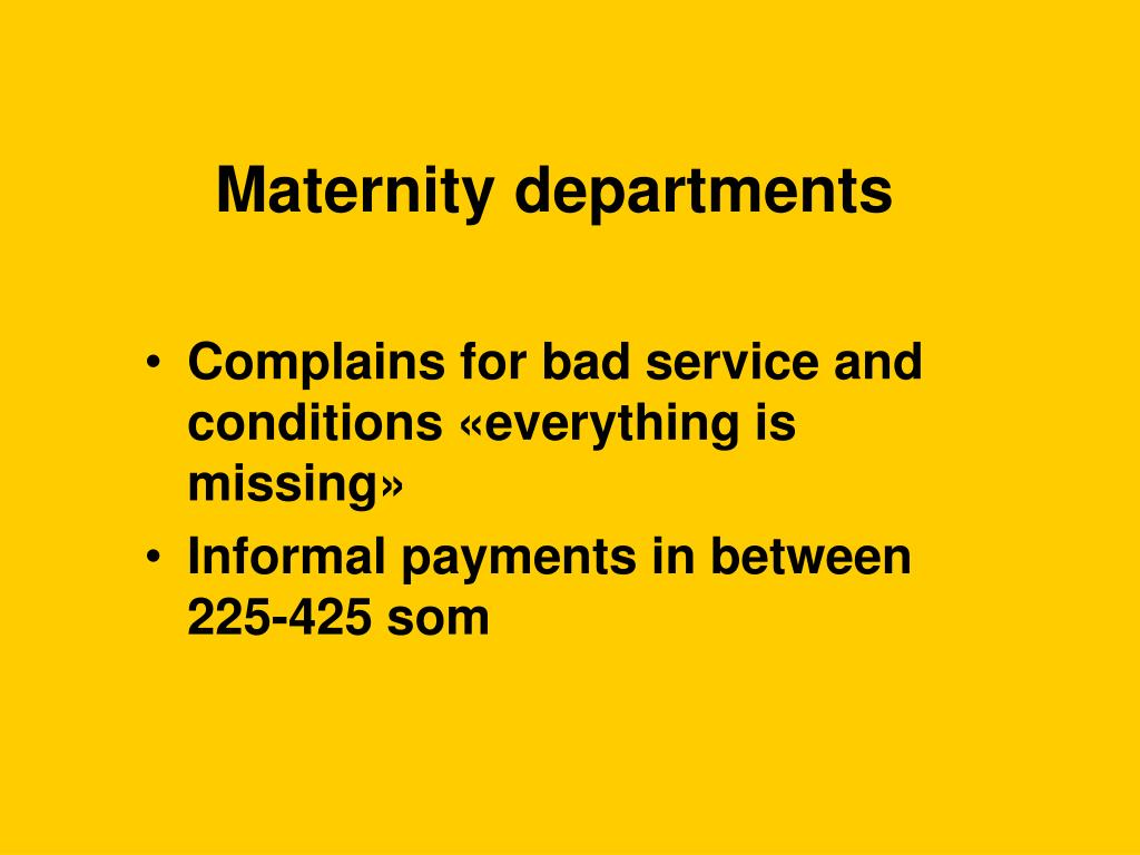Maternity departments