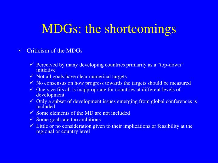 MDGs: the shortcomings