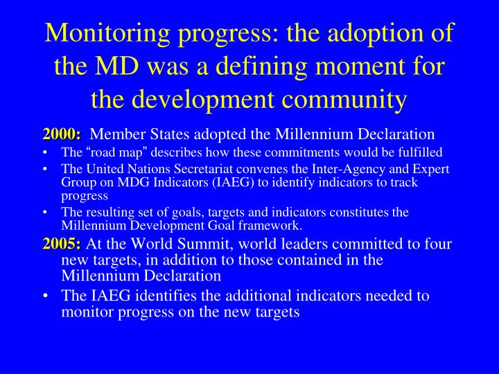 Monitoring progress: the adoption of the MD was a defining moment for the development community