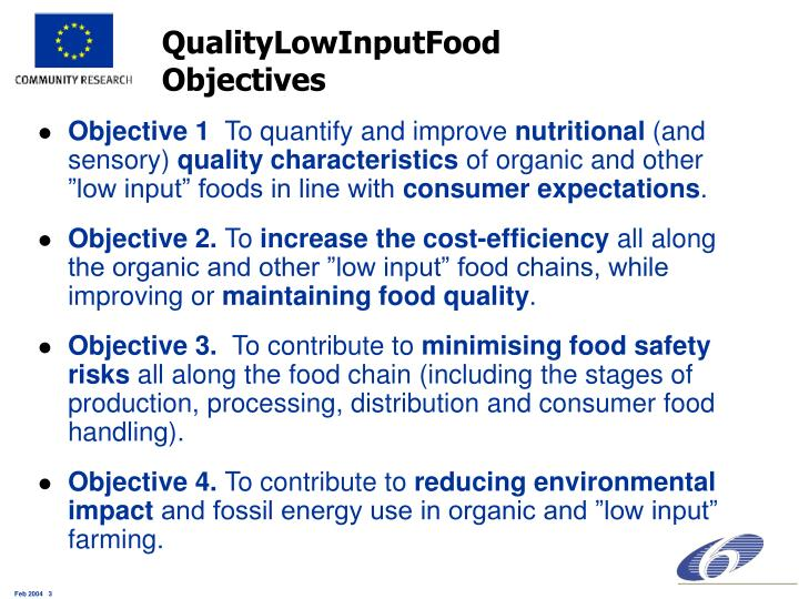 Qualitylowinputfood objectives