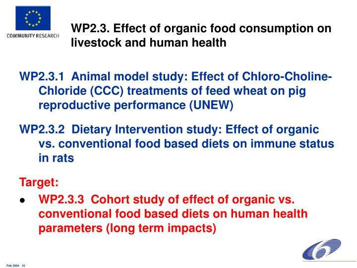 WP2.3. Effect of organic food consumption on livestock and human health