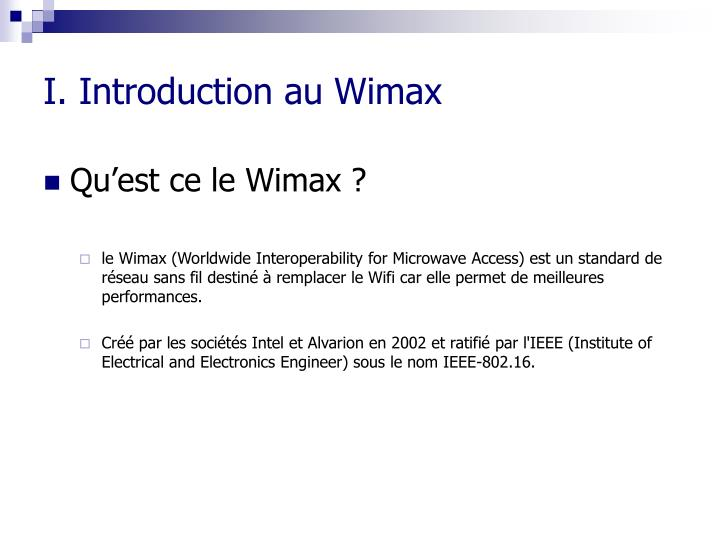 I introduction au wimax