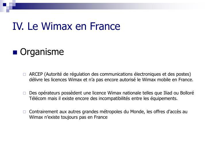 IV. Le Wimax en France