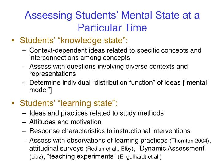 Assessing Students' Mental State at a Particular Time