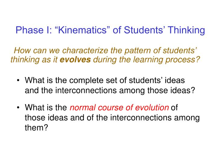 """Phase I: """"Kinematics"""" of Students' Thinking"""