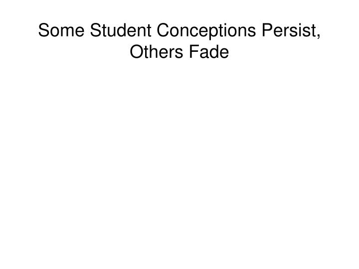 Some Student Conceptions Persist, Others Fade