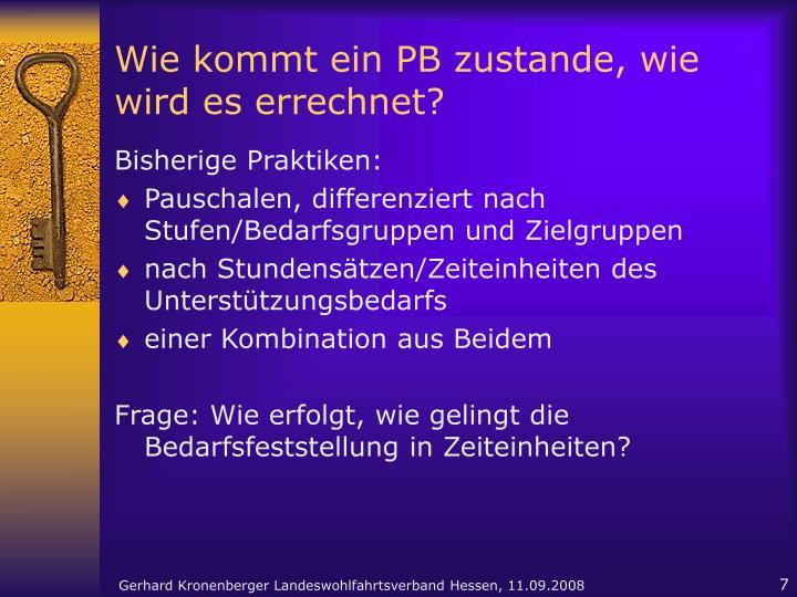 Wie kommt ein PB zustande, wie wird es errechnet?