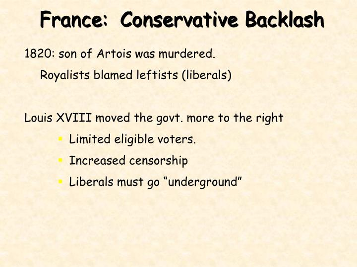France:  Conservative Backlash