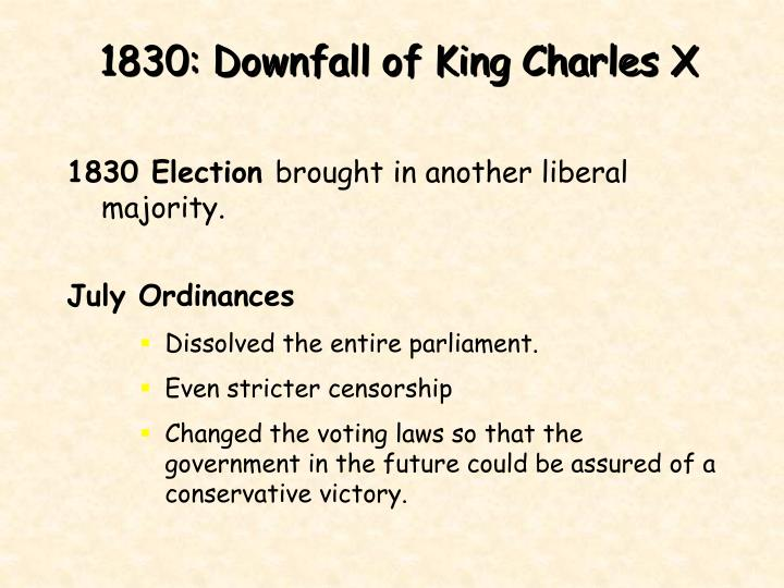 1830: Downfall of King Charles X