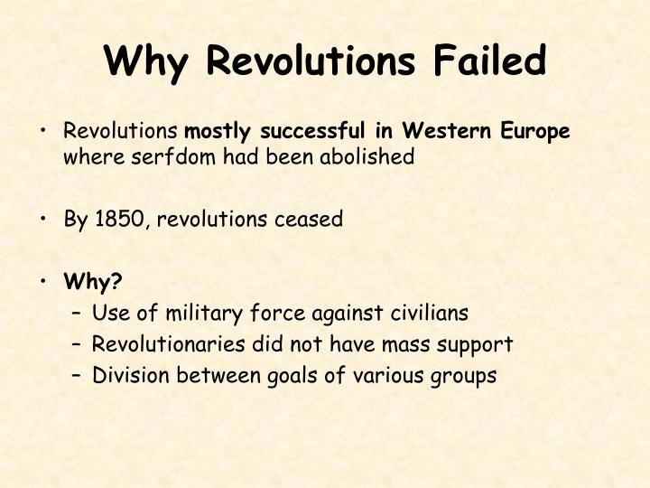 Why Revolutions Failed