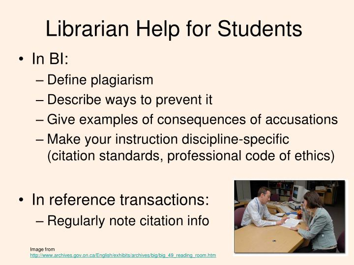 Librarian Help for Students