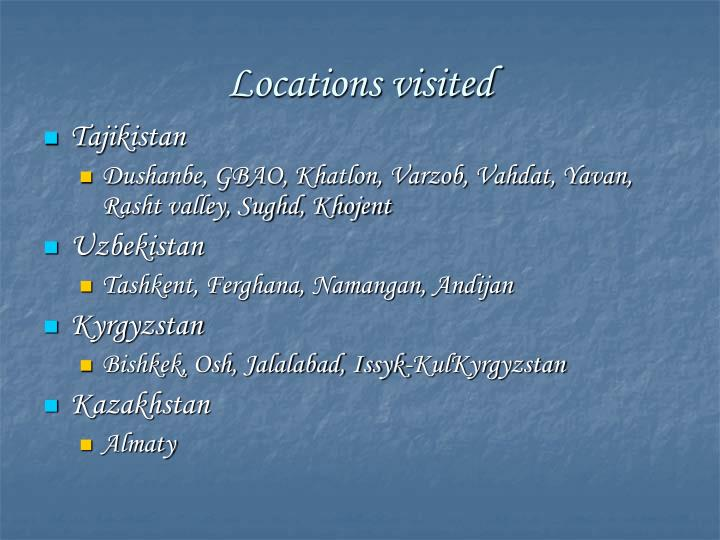 Locations visited