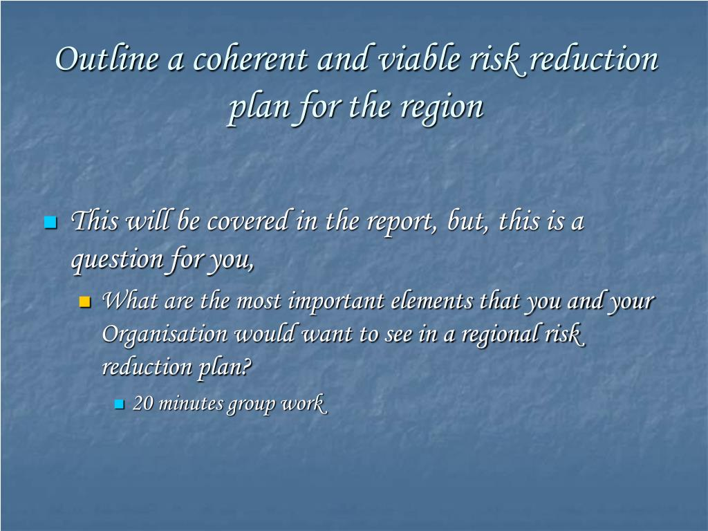 Outline a coherent and viable risk reduction plan for the region