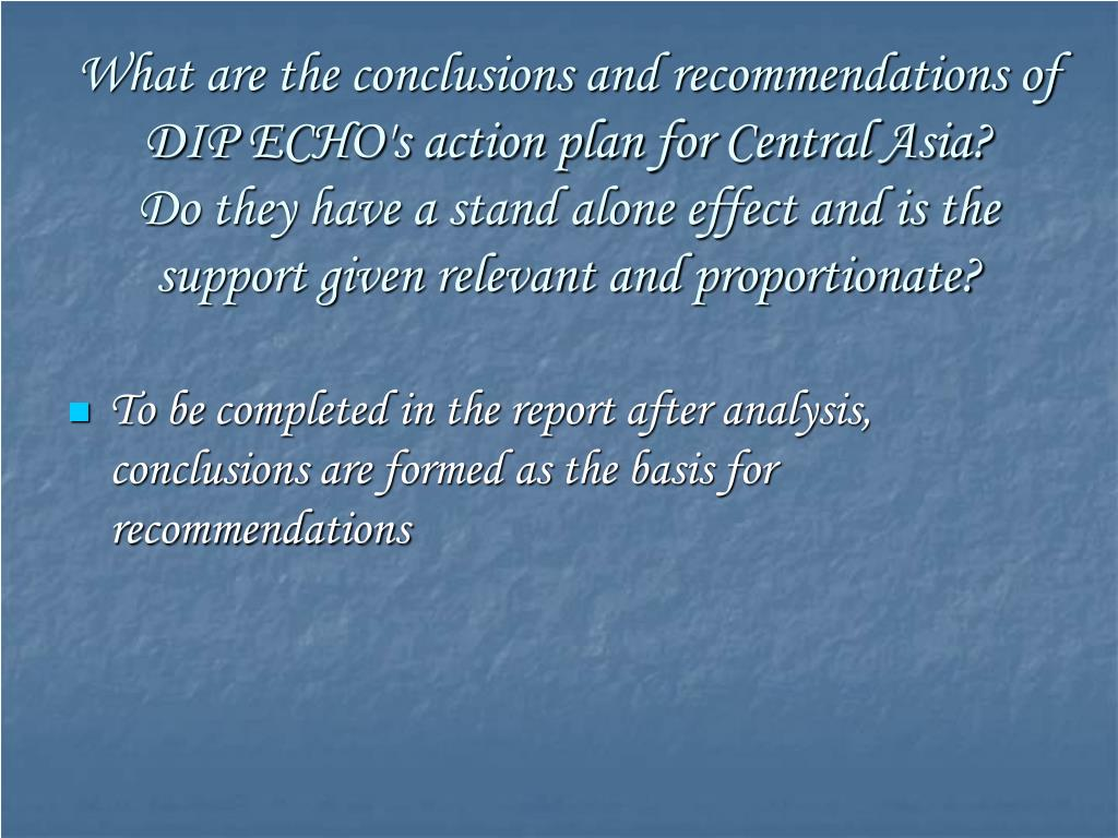What are the conclusions and recommendations of DIP ECHO's action plan for Central Asia?