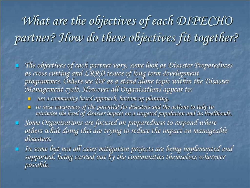 What are the objectives of each DIPECHO partner? How do these objectives fit together?