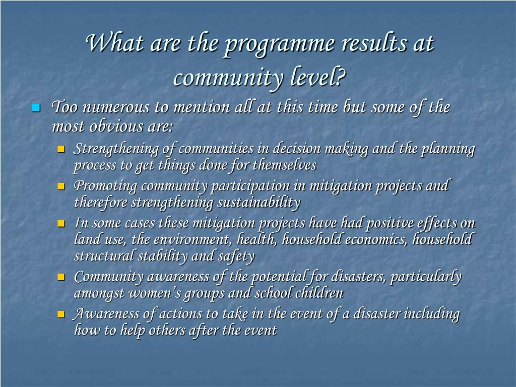 What are the programme results at community level?