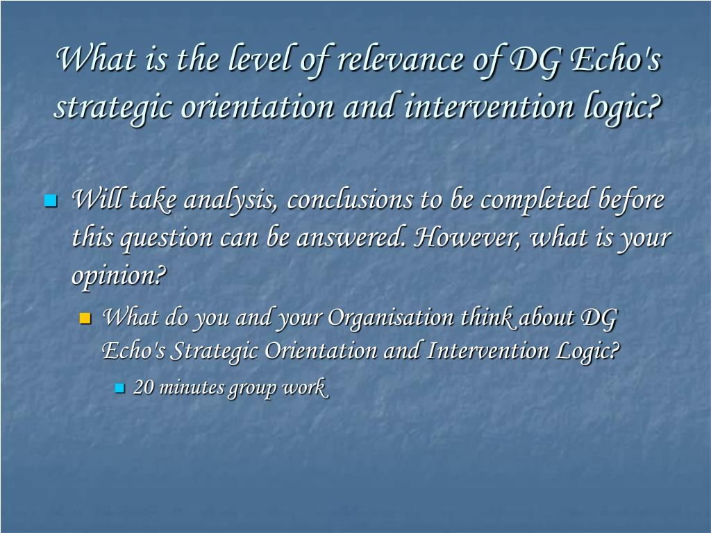 What is the level of relevance of DG Echo's strategic orientation and intervention logic?