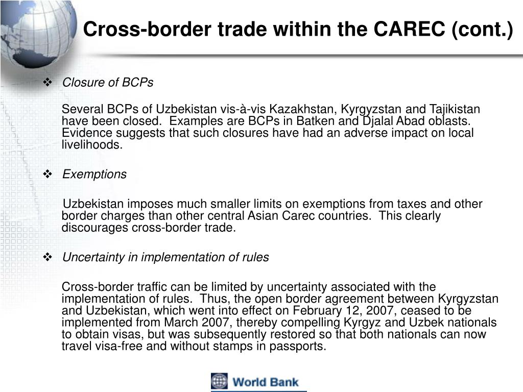 Cross-border trade within the CAREC (cont.)